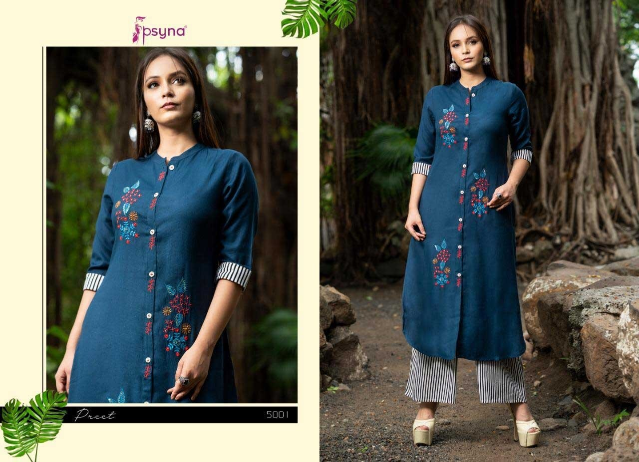 Preet vol 4 By Psyna 5001 To 5008 Series Cotton Handloom Kurti with Palazzo At Wholesaleprice